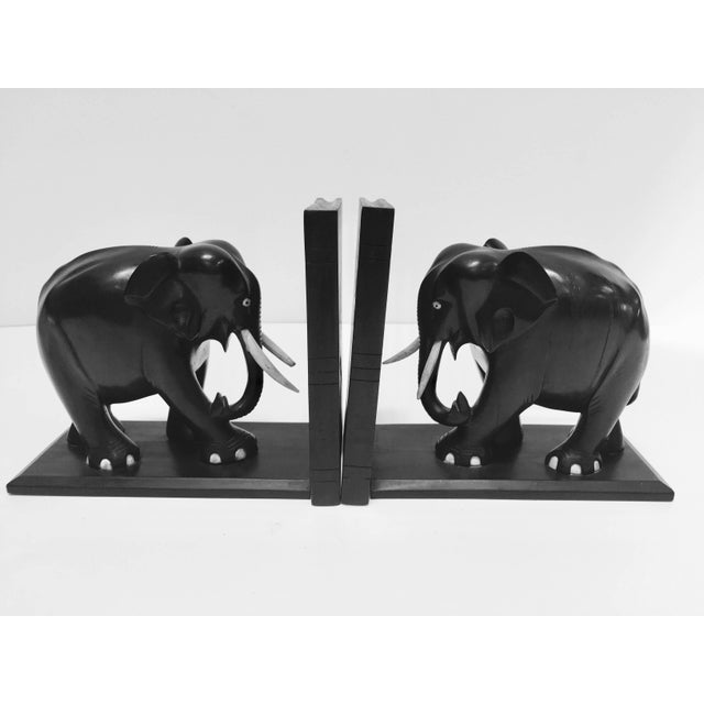 Hand-Carved Large Ebonized African Elephant Bookends, Circa 1950 For Sale - Image 13 of 13