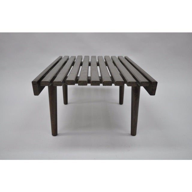 Brown Vintage Mid Century Modern Solid Wood Slat Bench For Sale - Image 8 of 10