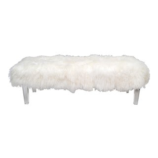 Tibetan Sheepskin Bench with Lucite Legs For Sale