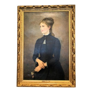 Antique French Late 19th Century Portrait Painting, Oil on Canvas, Signed Lucien Berthault (1854-1921).