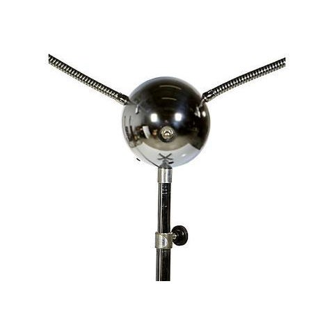 Mid-Century Modern Rolling Chrome Two Light Floor Lamp For Sale - Image 3 of 8