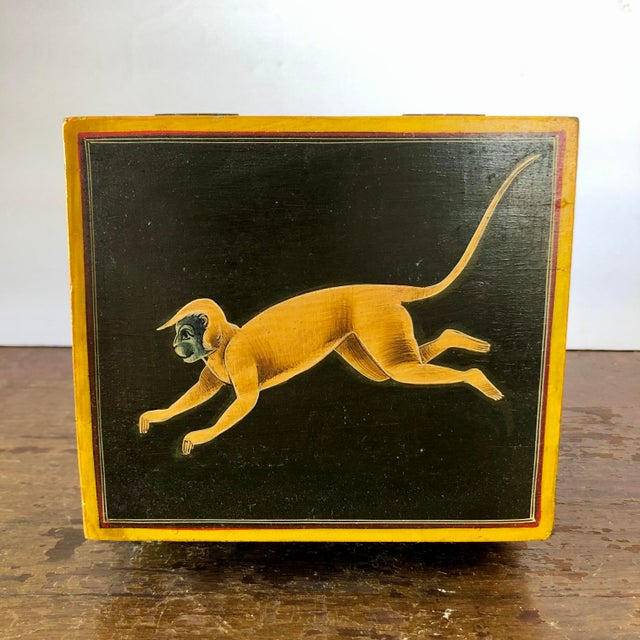 Hand Painted Green Yellow Wood Monkey Chest For Sale - Image 4 of 9