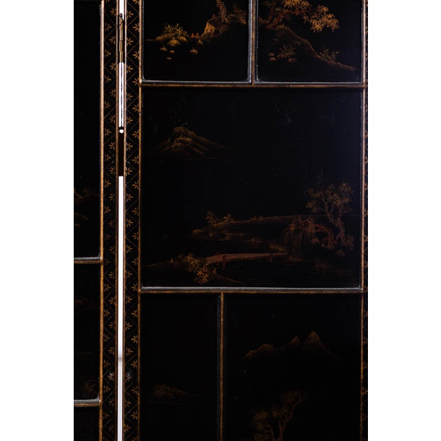Japanese Large Four-Panel Landscape Scenes With Individual Raised Frames Screen/Room Divider 6 Ft W X 6.5 Ft H by Lawrence & Scott For Sale - Image 10 of 12