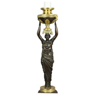 Russian Neoclassic Bronze and Ormolu Candlestick Lamp For Sale