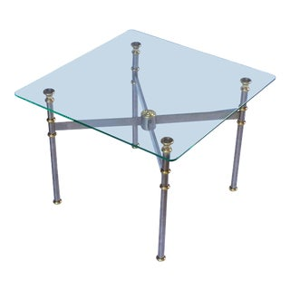 French Low Table of Steel and Brass For Sale