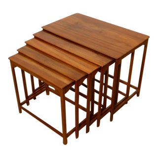 Mid-Century Modern Edward Wormley for Dunbar Teak Nesting Tables - Set of 5