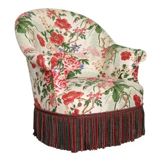 Napoleon III Style Floral Boudoir Chair With Bullion Fringe For Sale