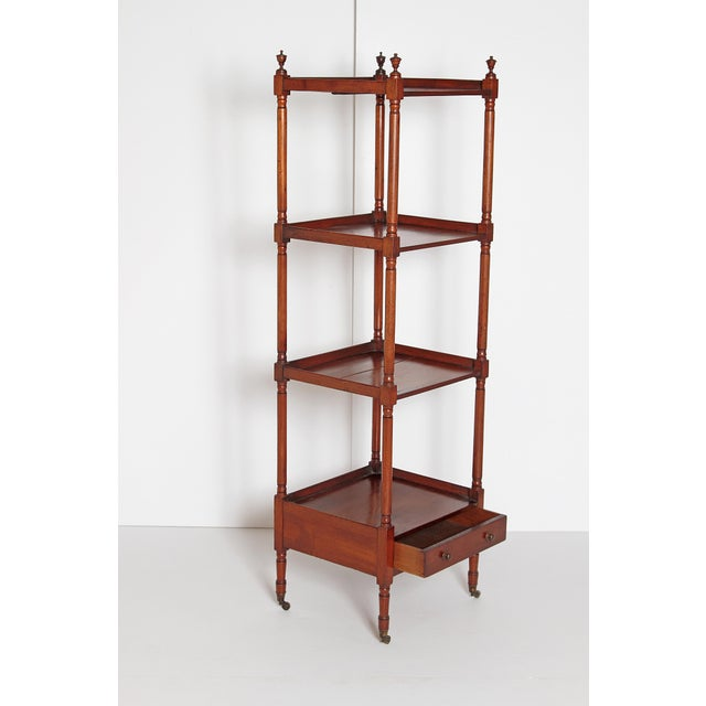 George III Four-Tier Mahogany Whatnot With Drawer For Sale - Image 10 of 13