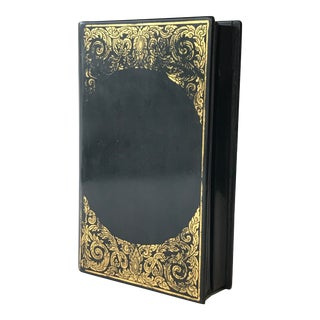 Black Lacquer Box With Gilt Decoration For Sale