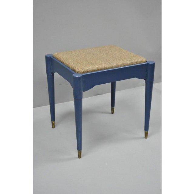 Vintage Mid-Century Modern Danish Style Blue Painted Piano Bench With Sewing Storage For Sale - Image 10 of 11