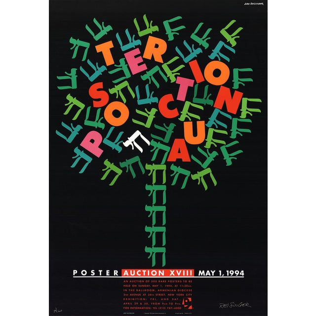 "DAN REISINGER Poster Auction SIGNED 39.5"" x 27"" Lithograph 1994 Multicolor For Sale"
