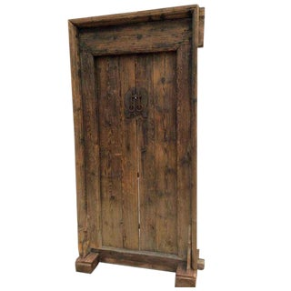 Mid-19th Century Antique Asian Wood Door For Sale