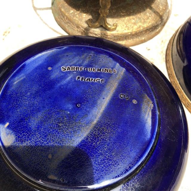 Sarraguemines Antique Cobalt French Filigree Compote Sarreguemines For Sale - Image 4 of 6