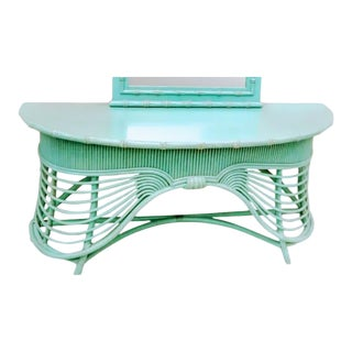 Vintage Faux Bamboo Rattan Draped Palm Beach Regency Aqua Green Turquoise Console Hall Table For Sale