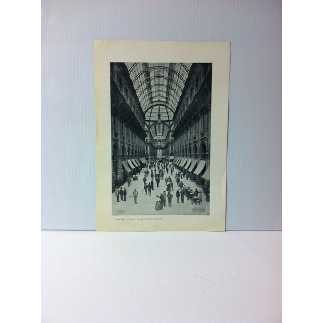 "Circa 1930 ""Galleria Vittorio Emanuele"" Print of Milano Italy For Sale - Image 4 of 4"
