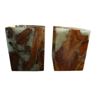 Mid-Century Organic Modern Fractal Resin and Wood Cubes - a Pair For Sale