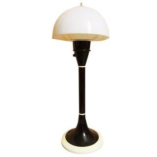 1940s Bauhaus Mushroom Black and White Glass Table Lamp