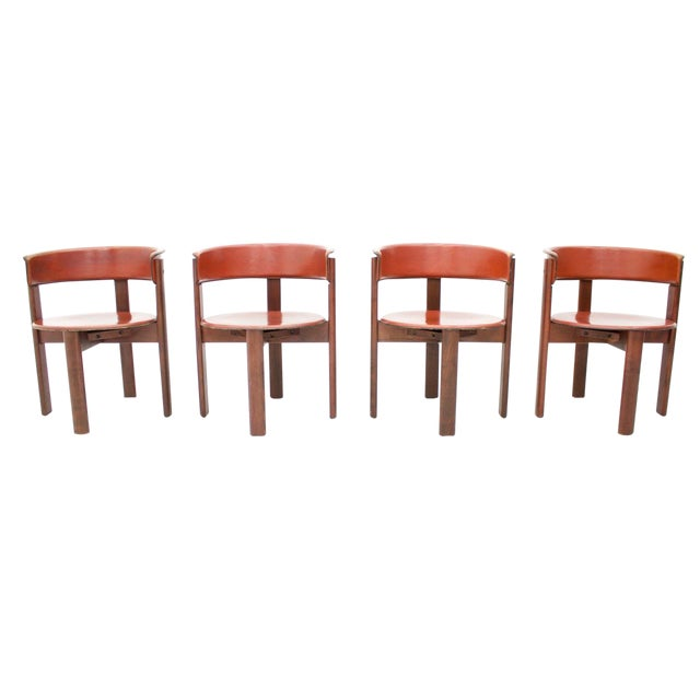 Set of Four Cassina Dining Room Chairs in Red Leather Italy, 1970s For Sale