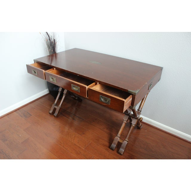 Campaign Style Double X Base Writing Desk - Image 7 of 11