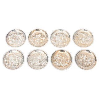 "Complete Set of Eight Italian Fornasetti Gilded Porcelain ""Mitologia"" Coasters For Sale"
