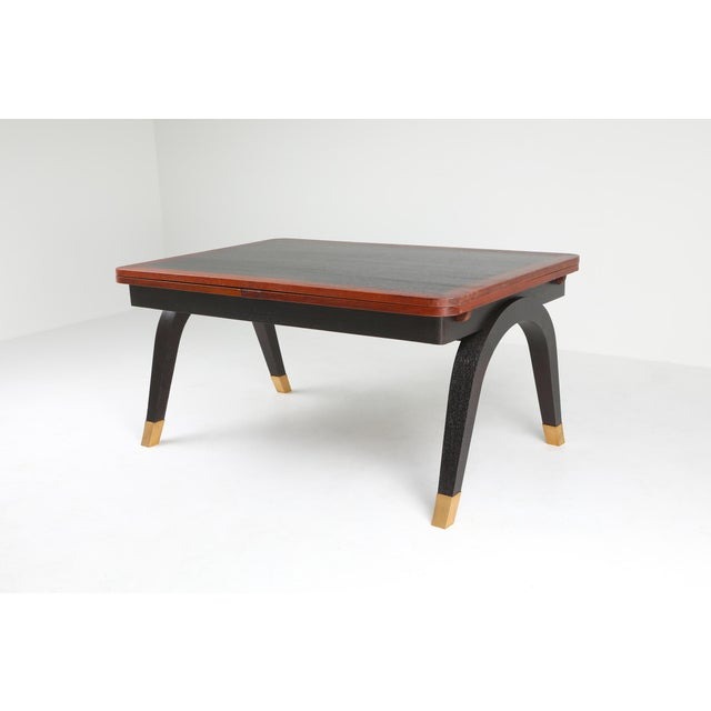 1970s Art Deco Extendable Dining Table For Sale - Image 5 of 11