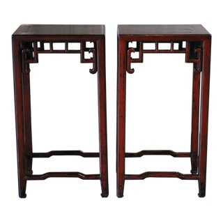 Chinese Red Lacquer Flower Stand W/ Stone Top - a Pair For Sale