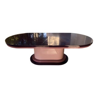 1980s Contemporary Purple Pink Laminate Pedestal Coffee Table For Sale
