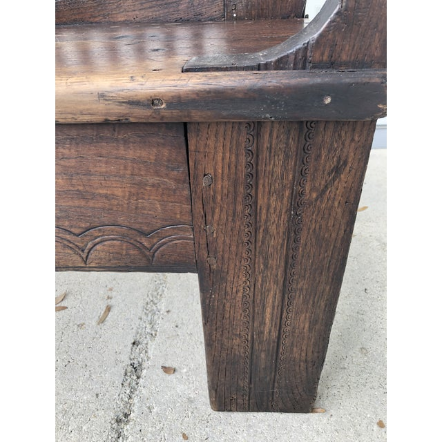 Spanish Revival 18th Century Dutch Colonial Robustly Built Hall Bench For Sale - Image 3 of 7