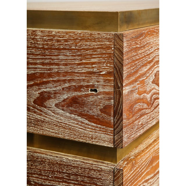 VIntage Sculptural Cerused Oak Chest With Brass Trim For Sale - Image 4 of 8