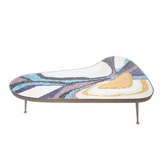 Abstract Margot Stewart Mosaic & Patinated Brass Free-Form Coffee Table For Sale