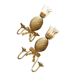 Vintage Solid Brass Pineapple Candle Wall Sconces - a Pair For Sale
