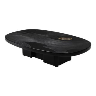 1980s Metropolitan Chic Black Resin With Agate Coffee Table by Dresse For Sale