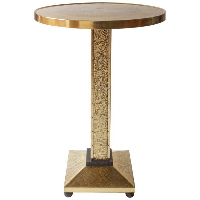 Rare Secessionist Hammered Brass and Painted Pedestal Table For Sale In Philadelphia - Image 6 of 6