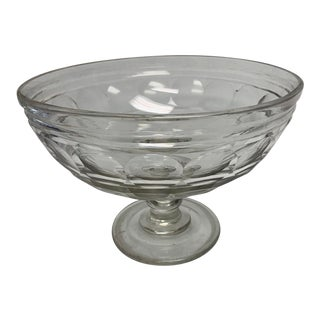 Vintage Glass Thumbprint Bowl on Pedestal For Sale