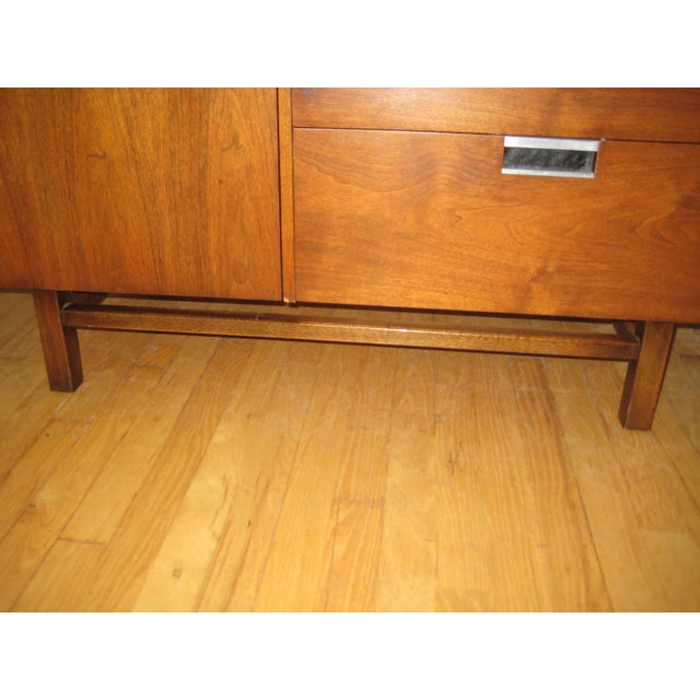 Brown 1960s Mid Century Walnut Two Piece Credenza For Sale - Image 8 of 10