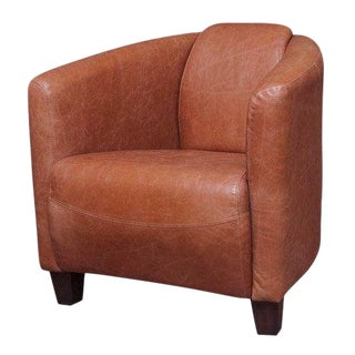 Classic Leather Tub Chair in Vienna Tan Finish