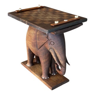 Antique Mahogany Carved Wood Elephant Chess Table For Sale