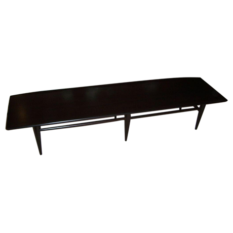 Lovely A Mid Century Dark Espresso Long Surfboard Coffee Table | DECASO