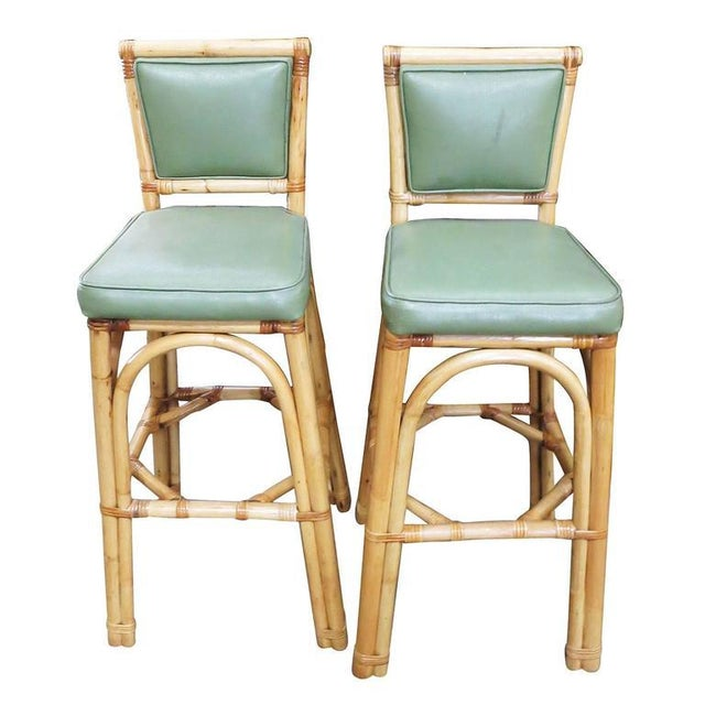 Rattan & Vinyl Bar Stools - Set of 6 - Image 2 of 9