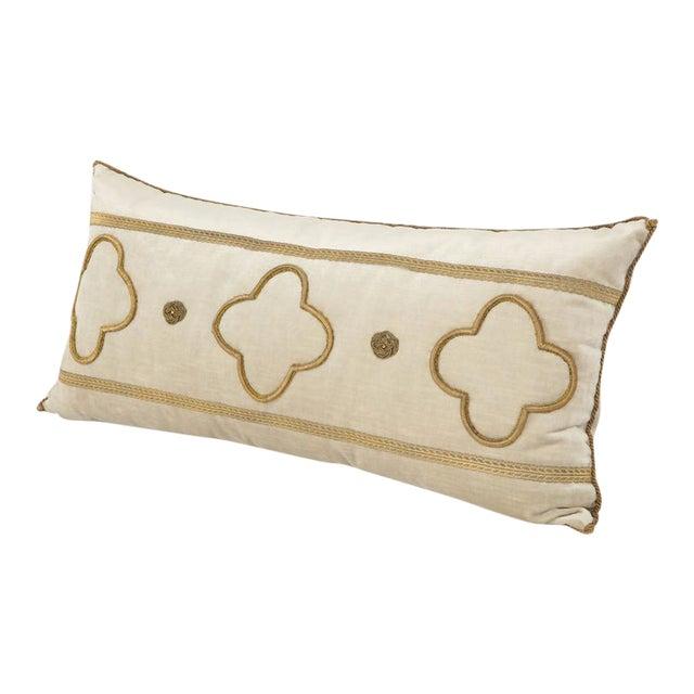 Long Velvet Embroidered Pillow For Sale