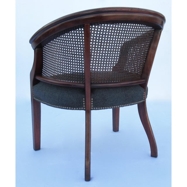 Vintage C.1968 Mahogany Barrel Back & Caned Arm Chairs With Brass Nail Heads - a Pair For Sale - Image 10 of 13