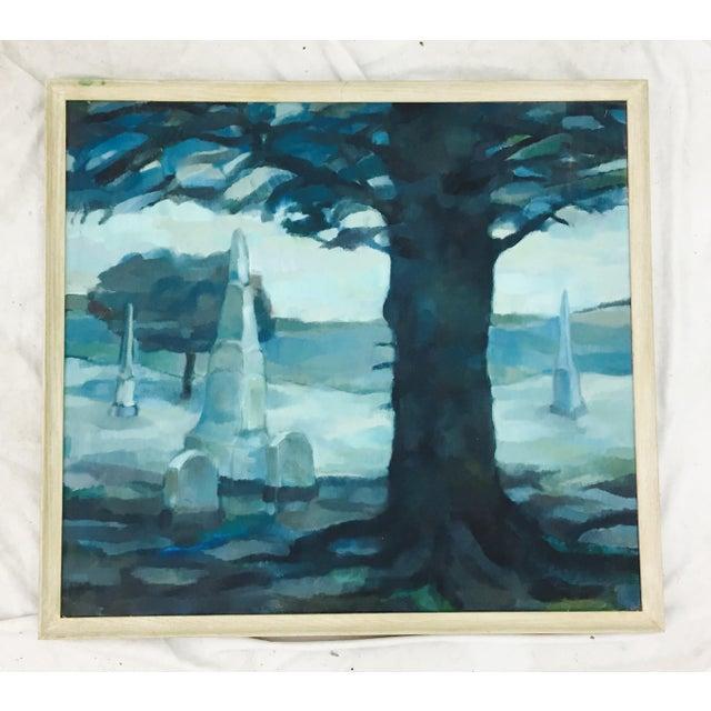 Vintage Original Blue Abstract Landscape in Frame - Image 4 of 7