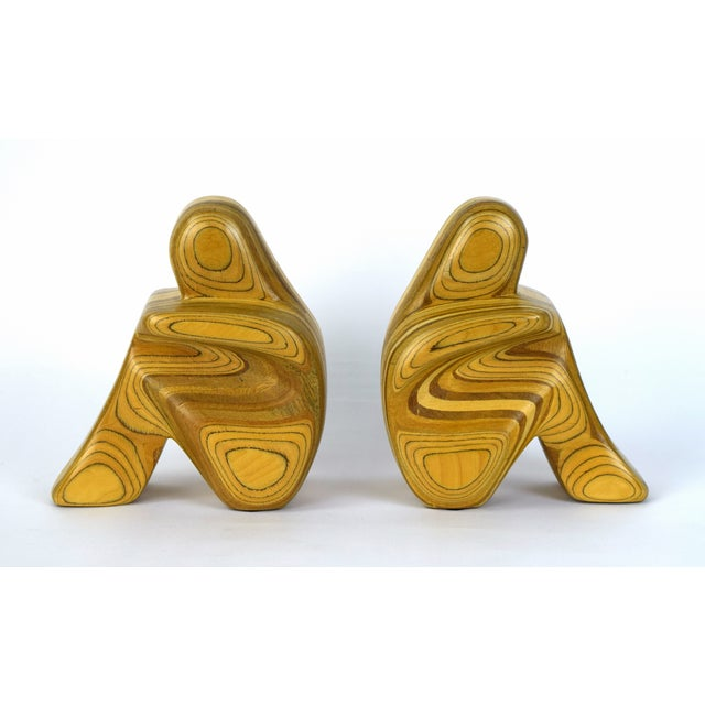Mid Century Modern Robert Hargrave Wood Bookends Abstract Human Figurines- A Pair For Sale - Image 10 of 10