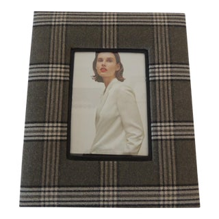 Moss Green and Grey Plaid Wool Picture Frame For Sale