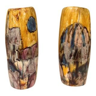 English Modern Art Studio Vases - A Pair For Sale