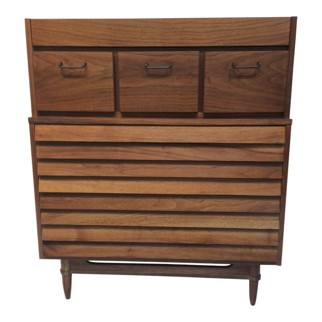 "1970s Mid-Century Modern Merton Gershun for American of Martinsville ""Dania"" Highboy Tall Chest For Sale"