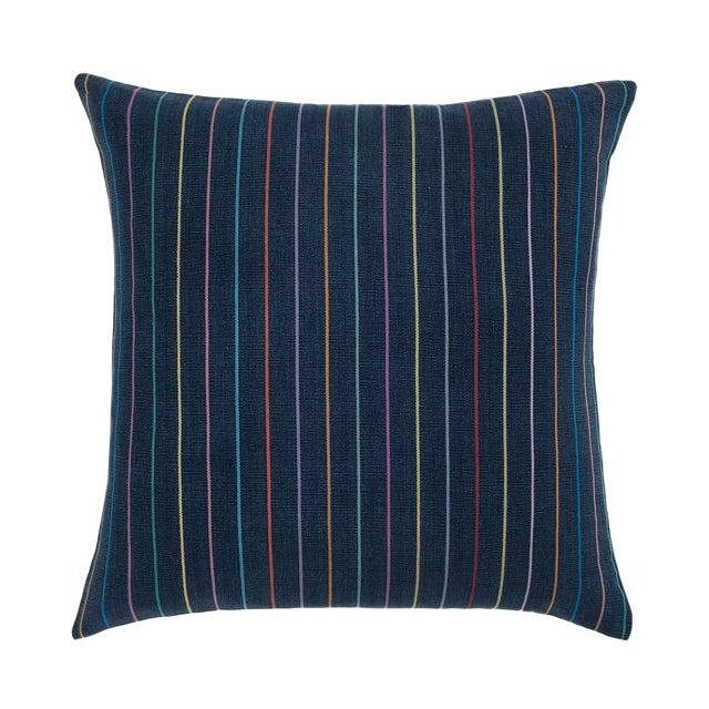 Indigo Rainbow Stripe Pillow For Sale
