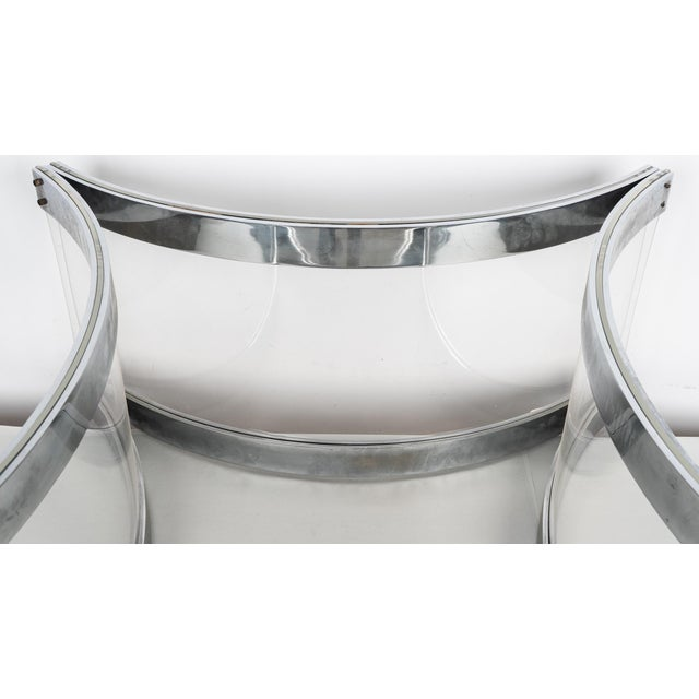 Mid 20th Century Mid Century Modern Alessandro Albrizzi Chrome & Lucite Coffee Cocktail Table - Judith Krantz Estate For Sale - Image 5 of 7