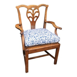 Antique Early American Country Fruitwood Arm Chair For Sale