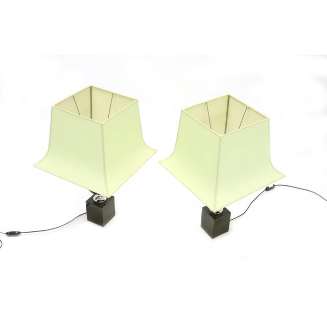 1970s Pair of Philippe Barbier Green Table Lamps For Sale - Image 5 of 6